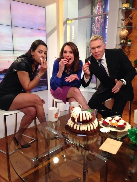 <p>The AMHQ team with Sam Champion on The Weather Channel</p>